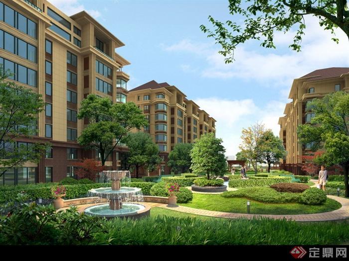 某多层住宅区绿地景观效果图psd格式