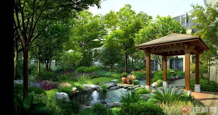 某住宅后院景观设计效果图PSD格式