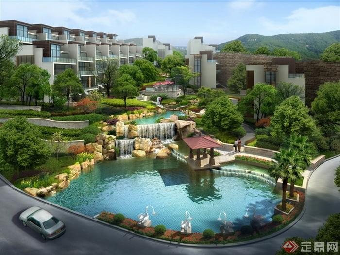 某住宅区水池绿地景观效果图PSD格式