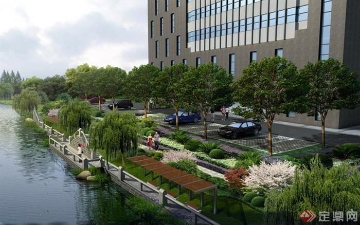 某办公楼旁滨水景观设计效果图psd分层素材,内容丰富,植物搭配漂亮.