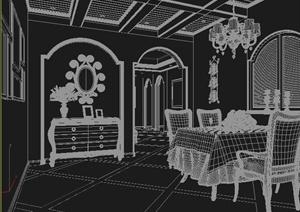 某地中海风格客厅餐厅室内设计3DMAX模型