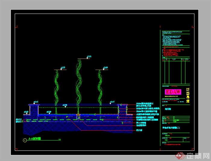 某水景喷泉设计参考CAD施工图图片