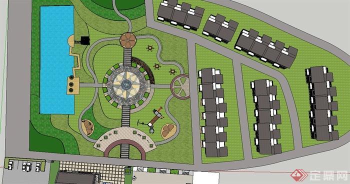 某新农村聚居点广场设计su模型[原创]