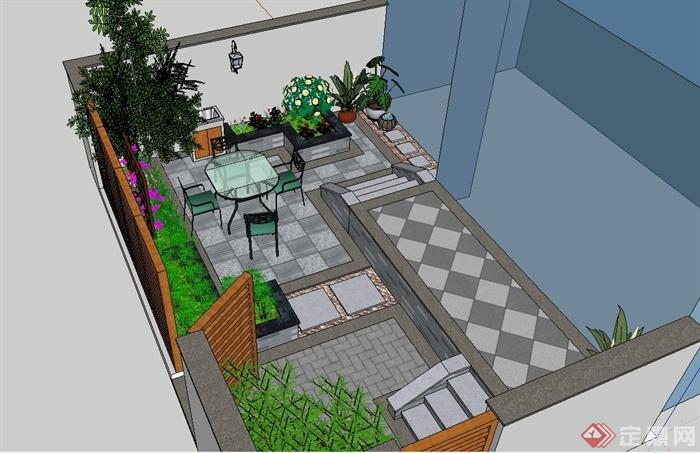 某别墅小庭院景观设计su模型,设计以花池为主景,地面铺装的做的较为