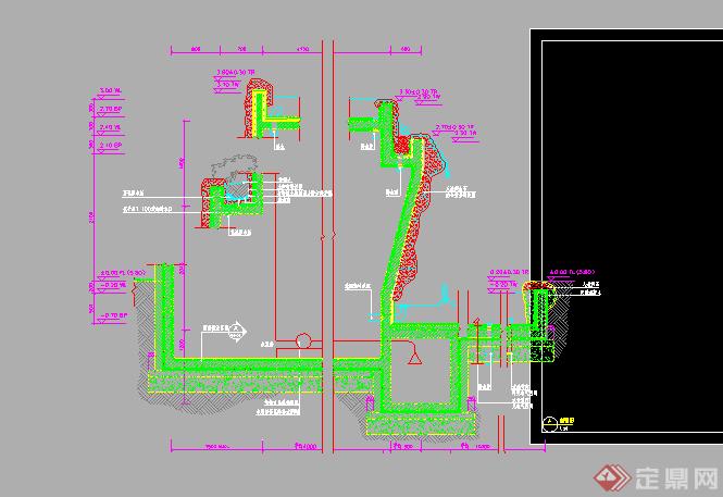 跌水施工图设计CAD图纸图片