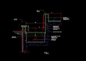 某水景跌水喷泉施工图设计CAD图纸-水景喷泉园林景观细部图片