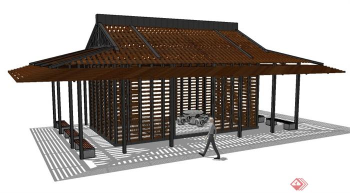 某新中式亭子设计su模型素材图片
