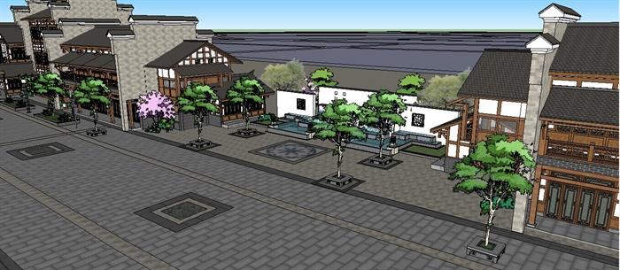 某现代中式 商业街建筑设计su模型1