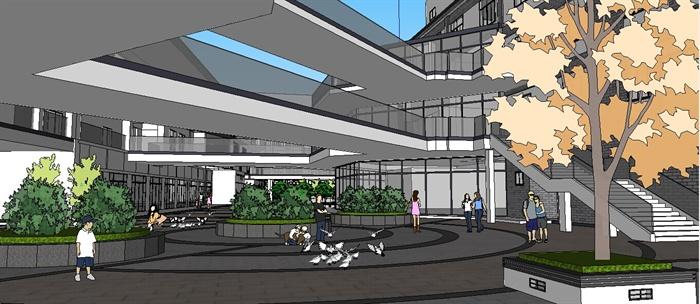 某邻里中心简中式商业街建筑设计su模型[原创]