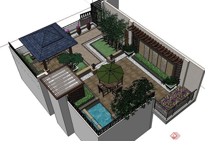 某现代中式别墅屋顶花园景观SU模型
