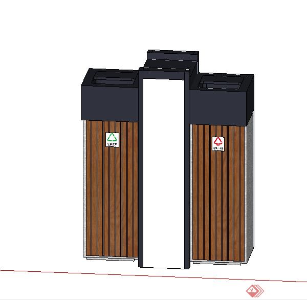 某垃圾箱垃圾桶设计su模型素材5(1)