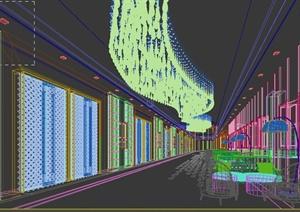 某酒店会所走廊过道室内装饰3dmax模型