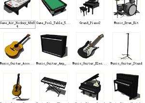 多个舞台娱乐器具SU(草图大师)模型