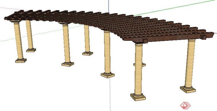 现代风格廊架设计su模型素材1