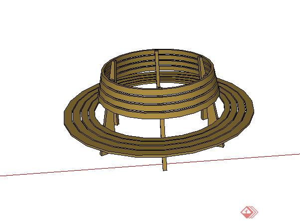 某园林景观树池坐凳设计su模型素材(1)