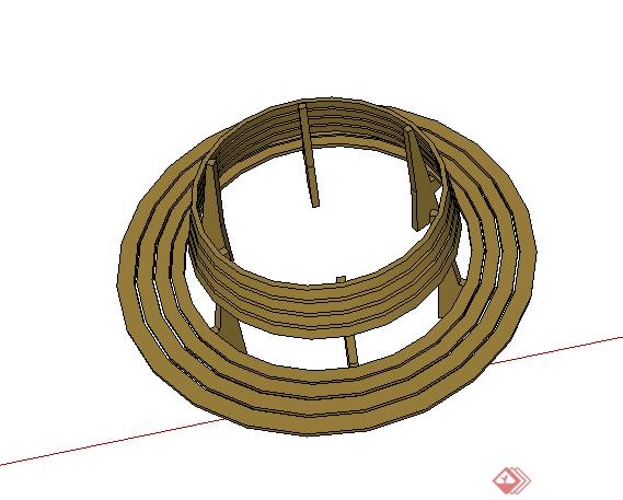 某园林景观树池坐凳设计su模型素材(2)