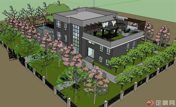 园院设计图-某私家庭院花园设计SU模型(4)   某私家庭院花园设计SU模型(5)