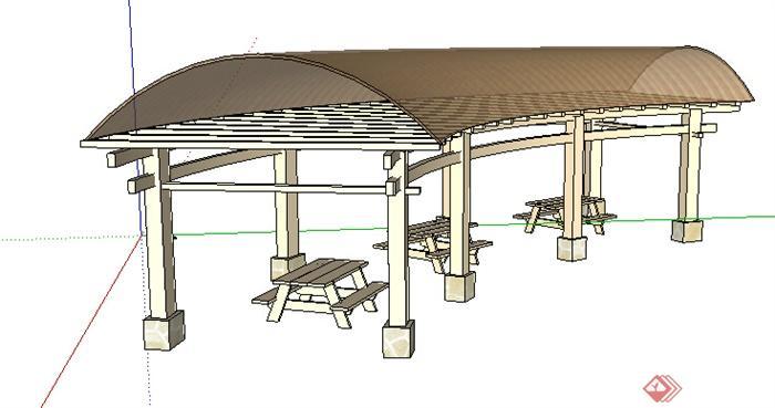 现代风格廊架设计su模型8
