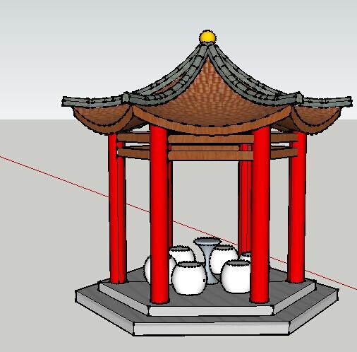 某园林景观中式五角亭su模型