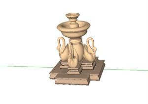某欧式水景喷泉设计SU(草图大师)模型素材3-水景喷泉园林景观细部图片