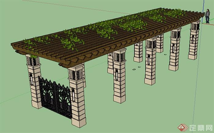 现代风格廊架设计su模型素材6