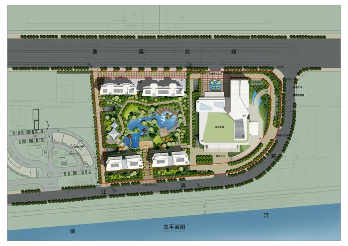 某滨江小区景观规划设计总平图psd格式,方案设计比较细致丰富,包含了