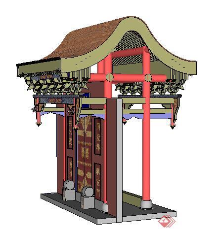 园林景观之大门设计方案SU模型1