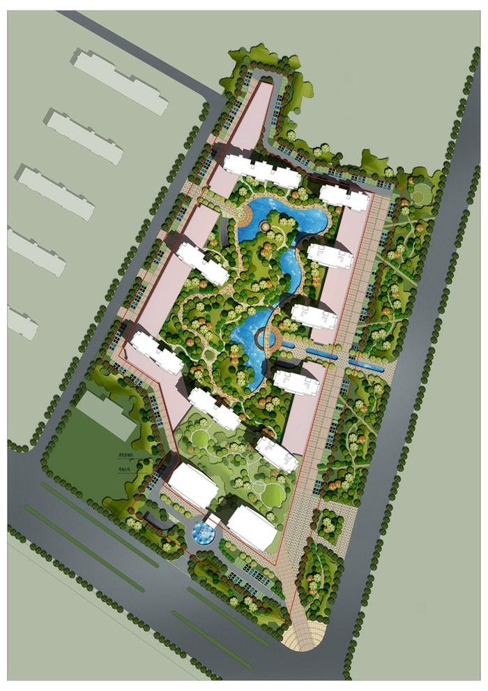 某居住小区规划设计psd总平面图图片