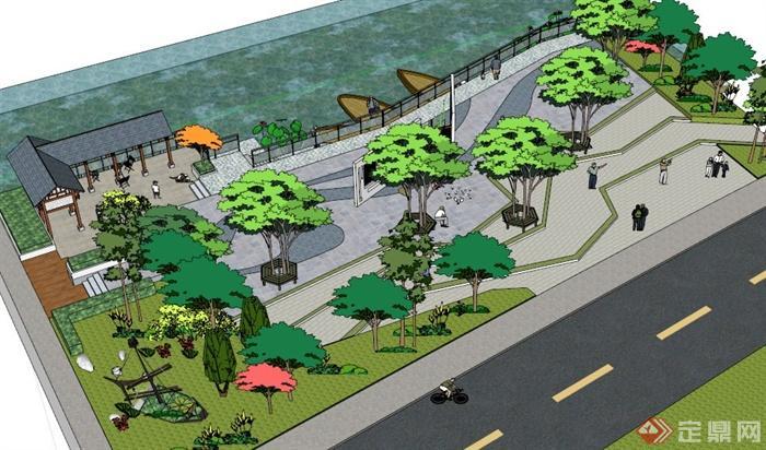 某中式湖边小广场景观设计su模型[原创]