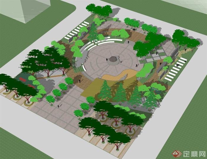 某小廣場景觀設計su模型2[原創]