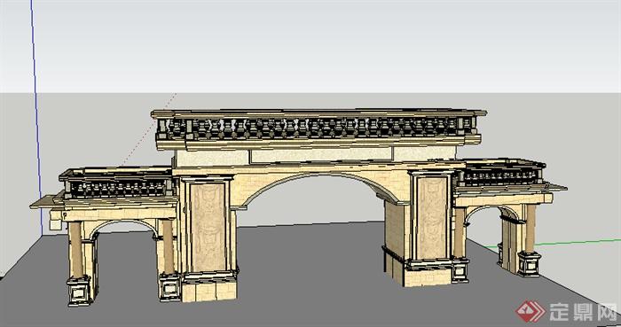 某欧式园林景观大门设计SU模型素材