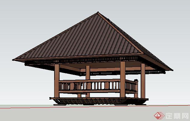 园林景观之东南亚风格景观亭设计su模型