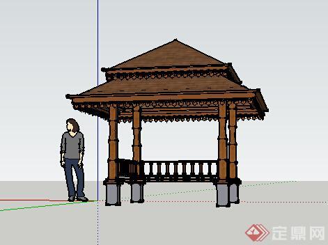 园林景观之东南亚风格景观亭设计su模型1