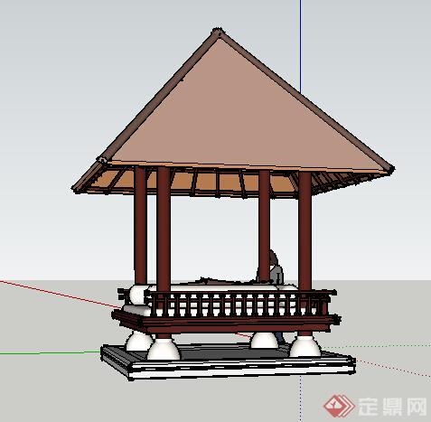 园林景观之东南亚风格景观亭设计su模型2