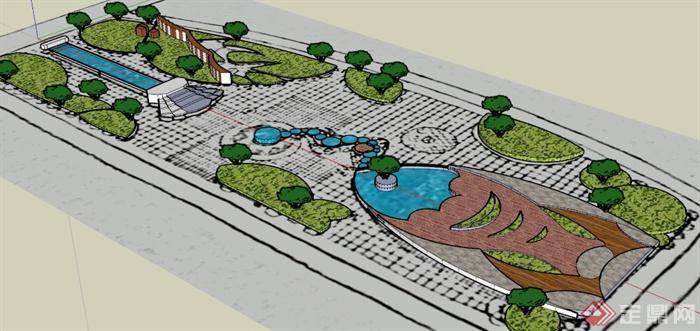 现代园林手绘平面图