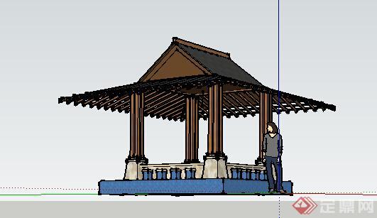 园林景观之东南亚风格景观亭设计su模型6