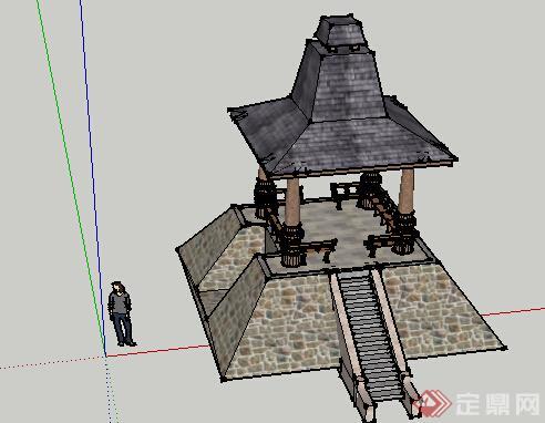 园林景观之东南亚风格景观亭设计su模型11