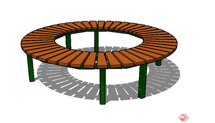 某园林景观圆形坐凳su模型素材