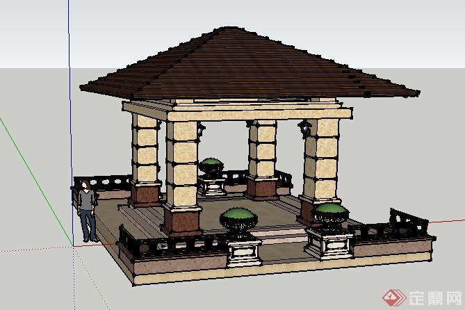 园林景观之欧式景观亭设计su模型