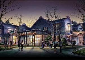 某中式商业街建筑景观夜景效果图psd格式,该效果图设计图片