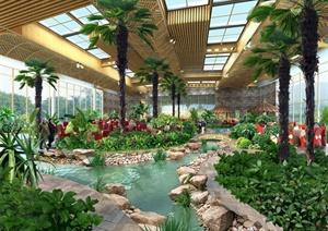 某室内花园景观设计psd效果图图片
