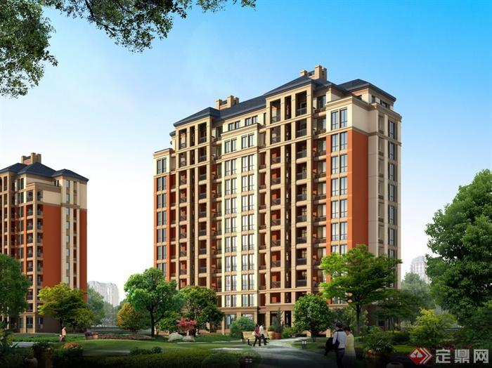 某多层住宅楼建筑设计PSD效果图