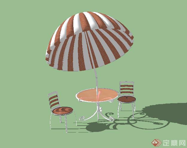 某园林景观室外太阳伞座椅su模型素材2