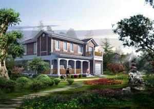 某独栋别墅建筑景观效果图PSD格式