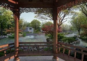 某滨水景观设计PSD效果图(亭内视角)-效果图滨水河道湿地公园园