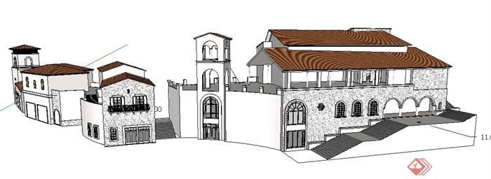 某西班牙风格商业街建筑设计整体su模型[原创]