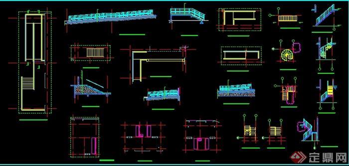 各种楼梯立面剖面节点详图