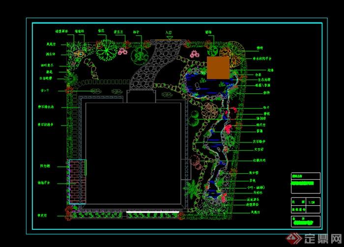 某别墅庭院花园设计CAD图纸参考7
