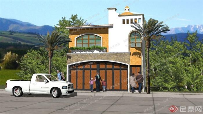 某小型别墅建筑设计SU模型1