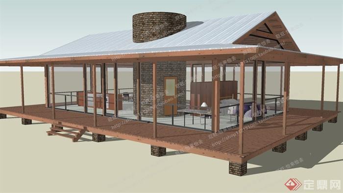 某个小型商业建筑设计su模型素材1[原创]